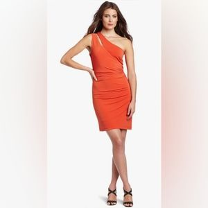 MAX AND CLEO Split One Shoulder Bodycon Dress Flame Orange Ruched Sleeveless